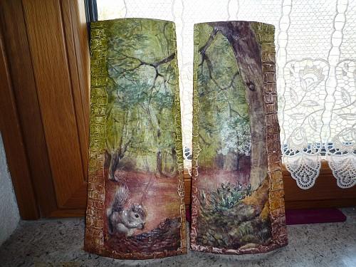 Tegole con bosco 22 tegole decorate in rilievo il - Tegole decorate in rilievo ...