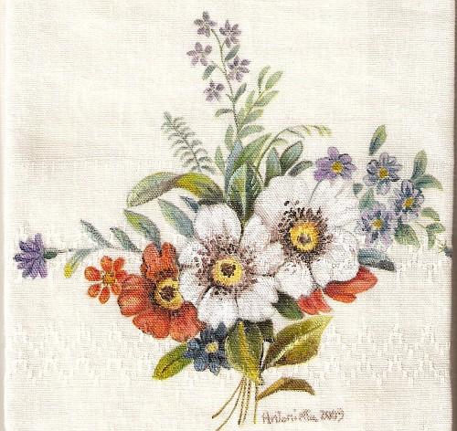 Bouquet di fiori dipinti su asciugamano pittura su for Immagini di fiori dipinti